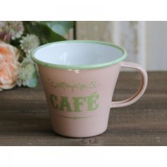 "Chic Antique Emaille Tassen mit Druck ""Cafe"",..."