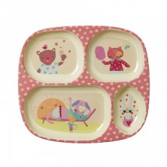 "Kids 4 room Melamine plate with girls ""happy..."